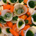 okse frikasse med gulerødder og løg